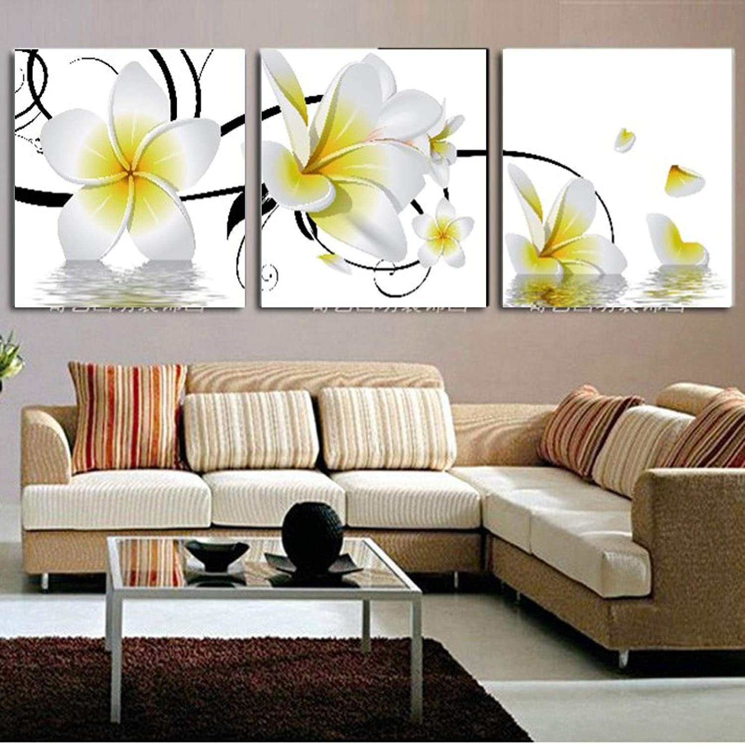 Canvas Paintings Wall Art pictures White And Yellow Plumeria Picture Print On Canvas For Home Decor Artwork Painting 40x40cmx3 Frameless