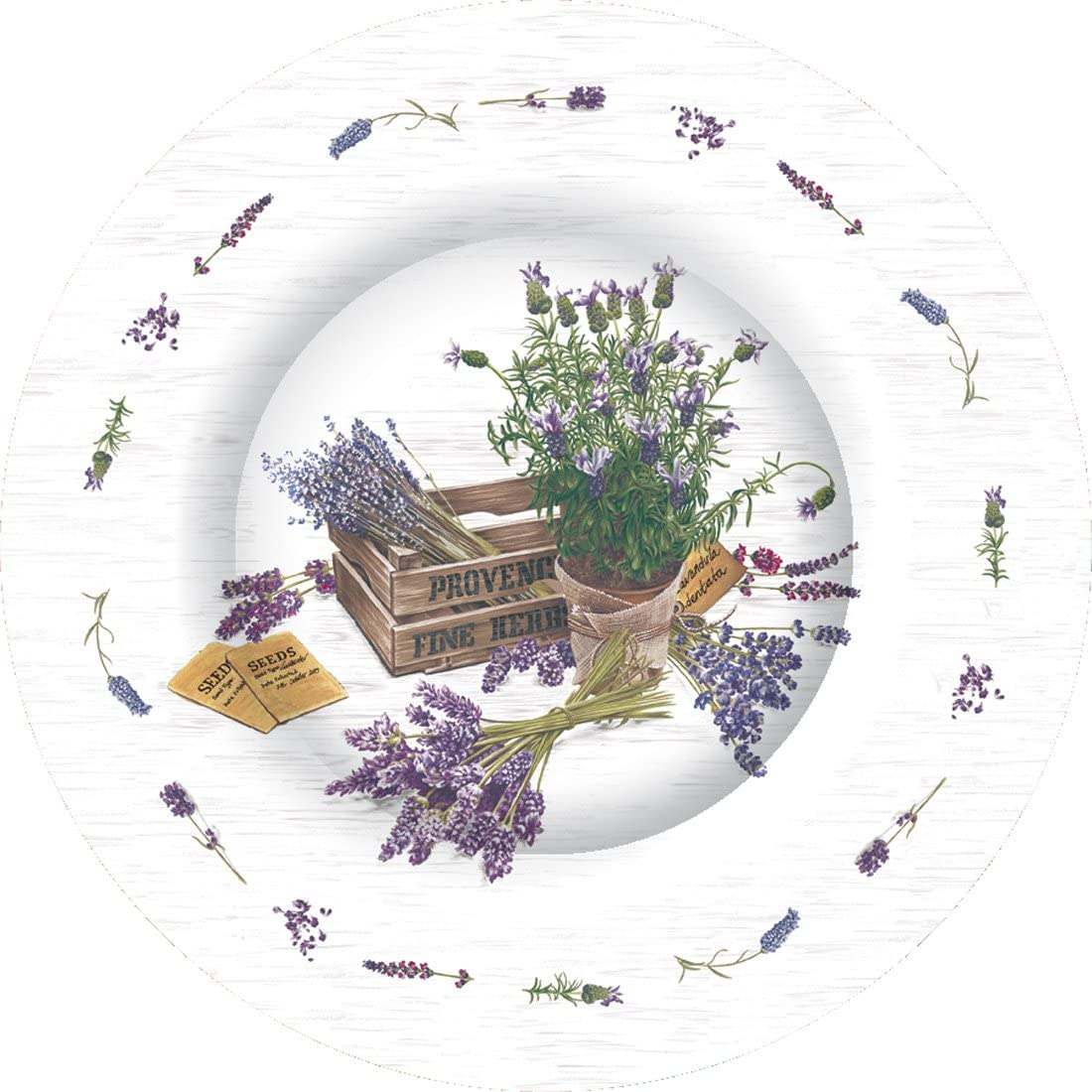 Boston International Round Paper Dinner Plates, 8-Count, 10.5-Inches in Diameter, The Flavor of Provence