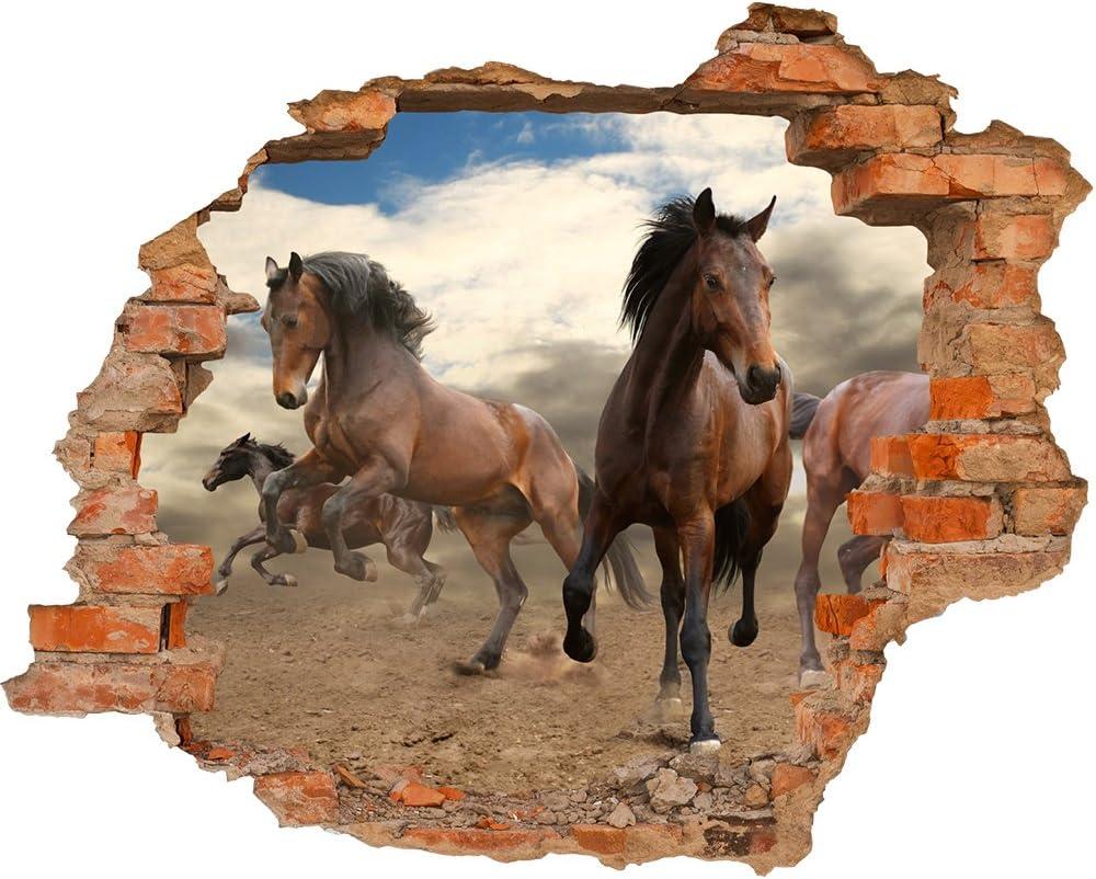 Fondos de foto Adhesivo Vinyl 3D Hoyo en la pared Mustang de los caballos que corre en libertad del desierto del polvo