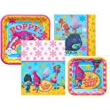 Dreamworks Trolls Birthday Party Bundle Including Dinner Plates Dessert Napkins And Tablecover For