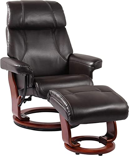 August Vegan Leather Chair and Ottoman Recline