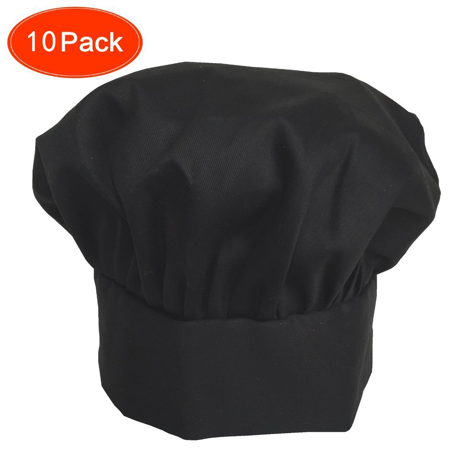 Ufaucet Elastic Band Design 80% Cotton Black Easy Clean Adjustable Velcro Durable Executive Sushi Personalized Pastry Chef Hat, Chef Hats for Adults