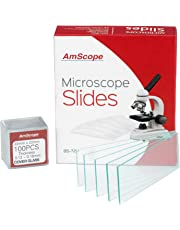 AmScope BS-72P-100S-22 72 Pieces of Pre-Cleaned Blank Microscope Slides and 100 Pieces of 22x22mm Square Coverslips Cover Glass