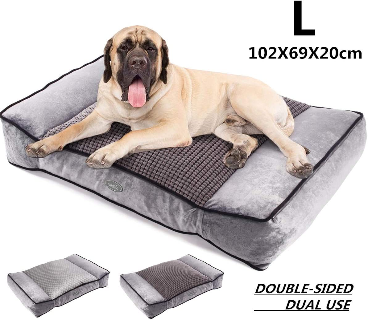Pecute Camas para Perros Grandes de Dos Caras Colchón Perro Lavable Suave, 102X69X20cm Almohadas para Camas para Perros Gris (L, Gris)