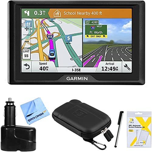 Garmin Drive 51 LM GPS Navigator 010-01678-0B USA with Driver Alerts w Accessories Bundle Includes, Dual 12V Car Charger for GPS, Screen Protectors, Protect Stow Case Mini More