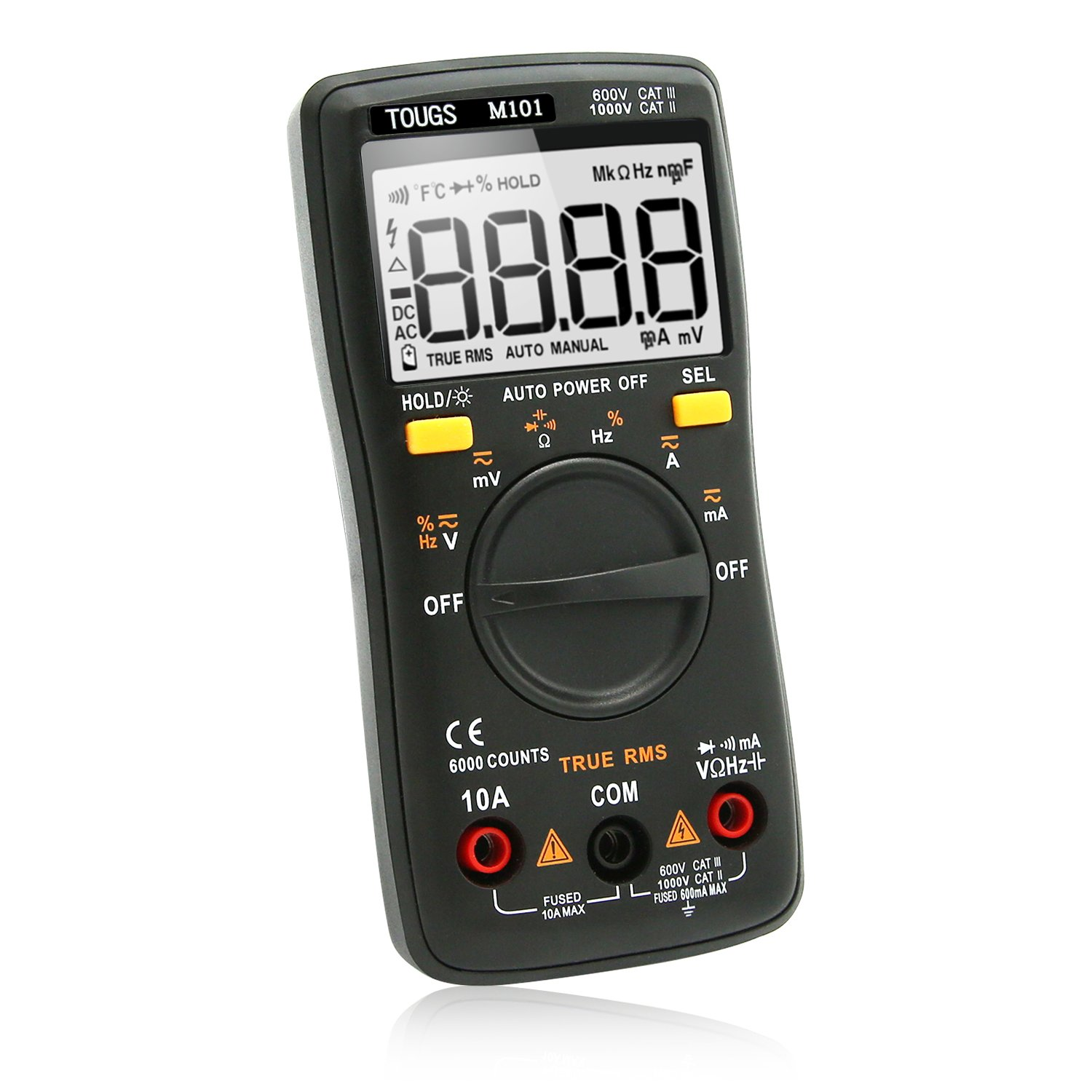 TOUGS M101 True-RMS Digital Multimeter Auto-Ranging 6000 Counts Electricians Pocket Multi Tester with LCD Backlight
