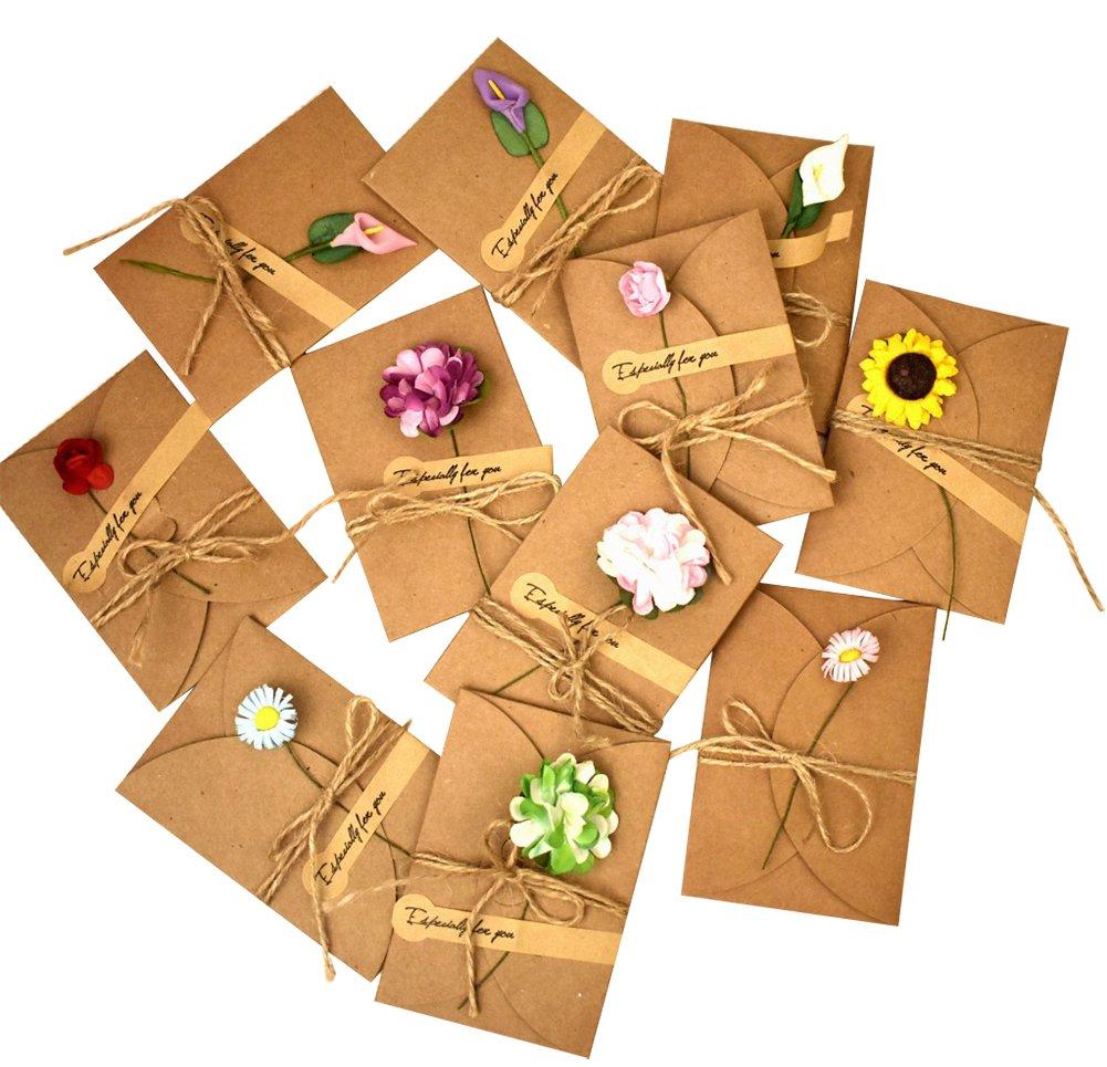 Kentop 10pcs Tarjeta de Felicitació n Vintage de Hechas a Mano de Papel Kraft DIY Flores Secas Postal