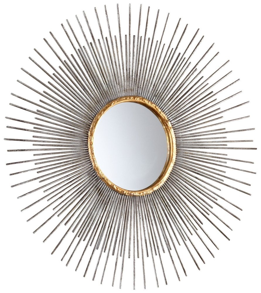 Cyan Design 05537 Pixley Mirror, Small - Finish: antiqued silver Leaf Material: iron and mirrored glass Product Type: mirrors - bathroom-mirrors, bathroom-accessories, bathroom - 71PxwX%2BIf8L -