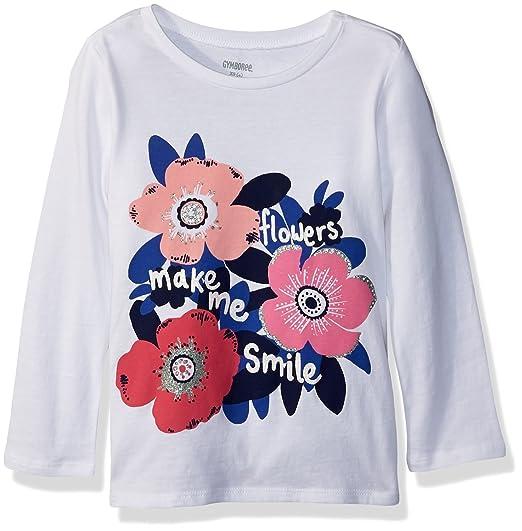 6997fb89e Gymboree Girls' Little Long Sleeve Sequin Graphic TEE, White Flower Print S