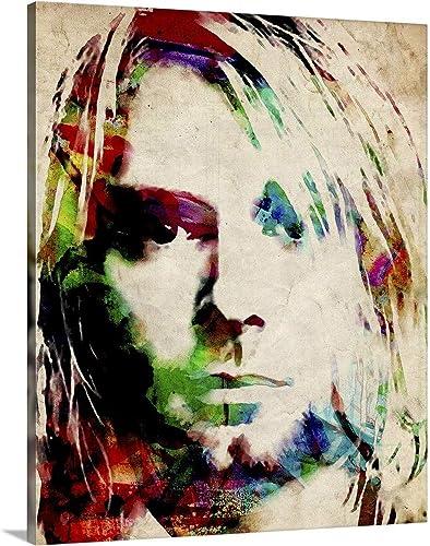 Kurt Cobain Urban Watercolor Canvas Wall Art Print