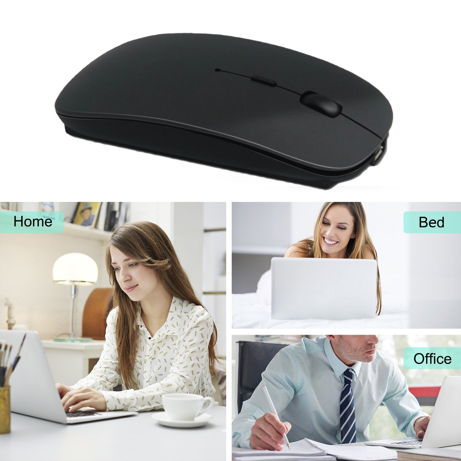 Wireless Mouse,BOOMER VIVI Rechargeable Portable Bluetooth 3.0 Slim Mice 3 Level Adjustable DPI Power-saving Model Built-in Battery with USB cable for PC Laptop Windows/Android Tablet,Mac by BOOMER VIVI (Image #9)
