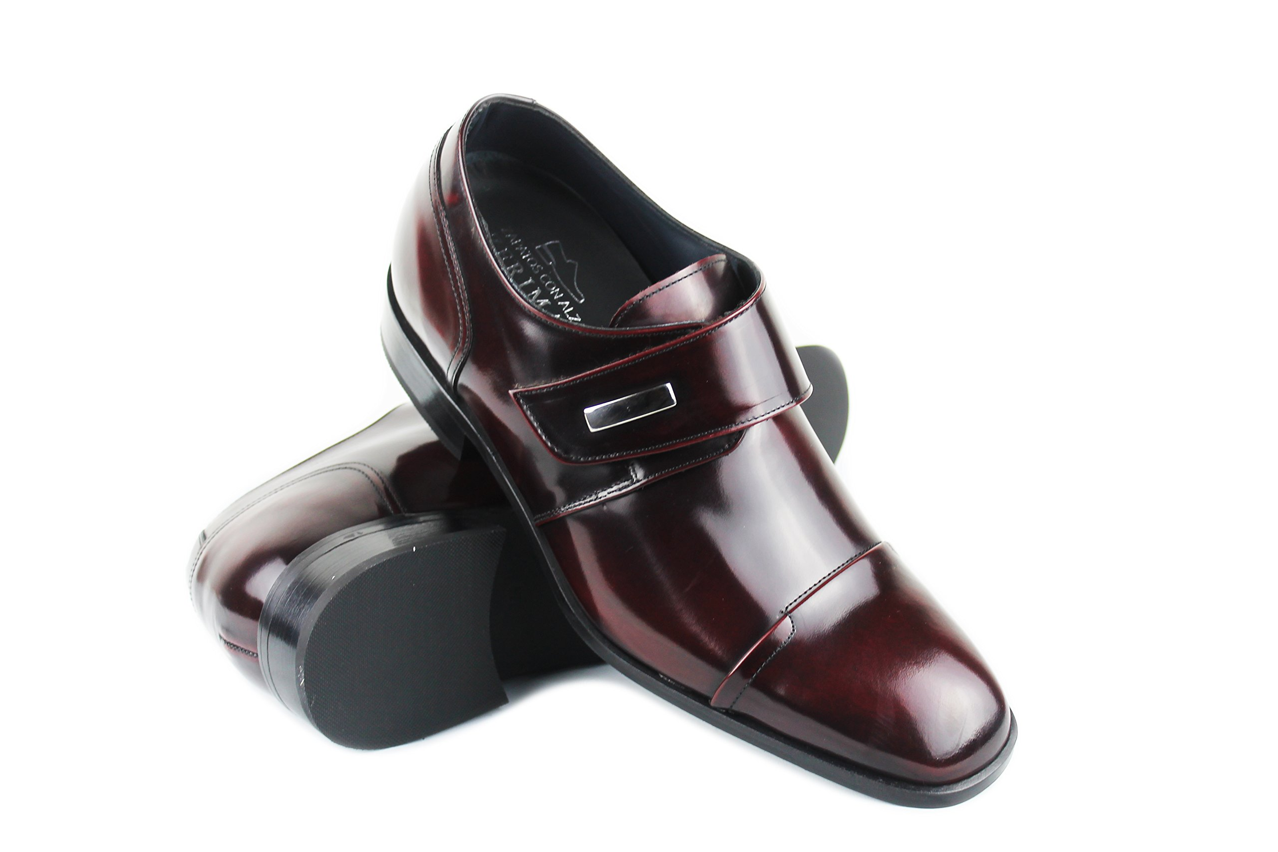 ZERIMAR height Increasing Elevator Shoes For Men Add +2,8 Inch To Your height Quality 100% Leather Shoes Color Bordeaux Size EU 39 US 7.5
