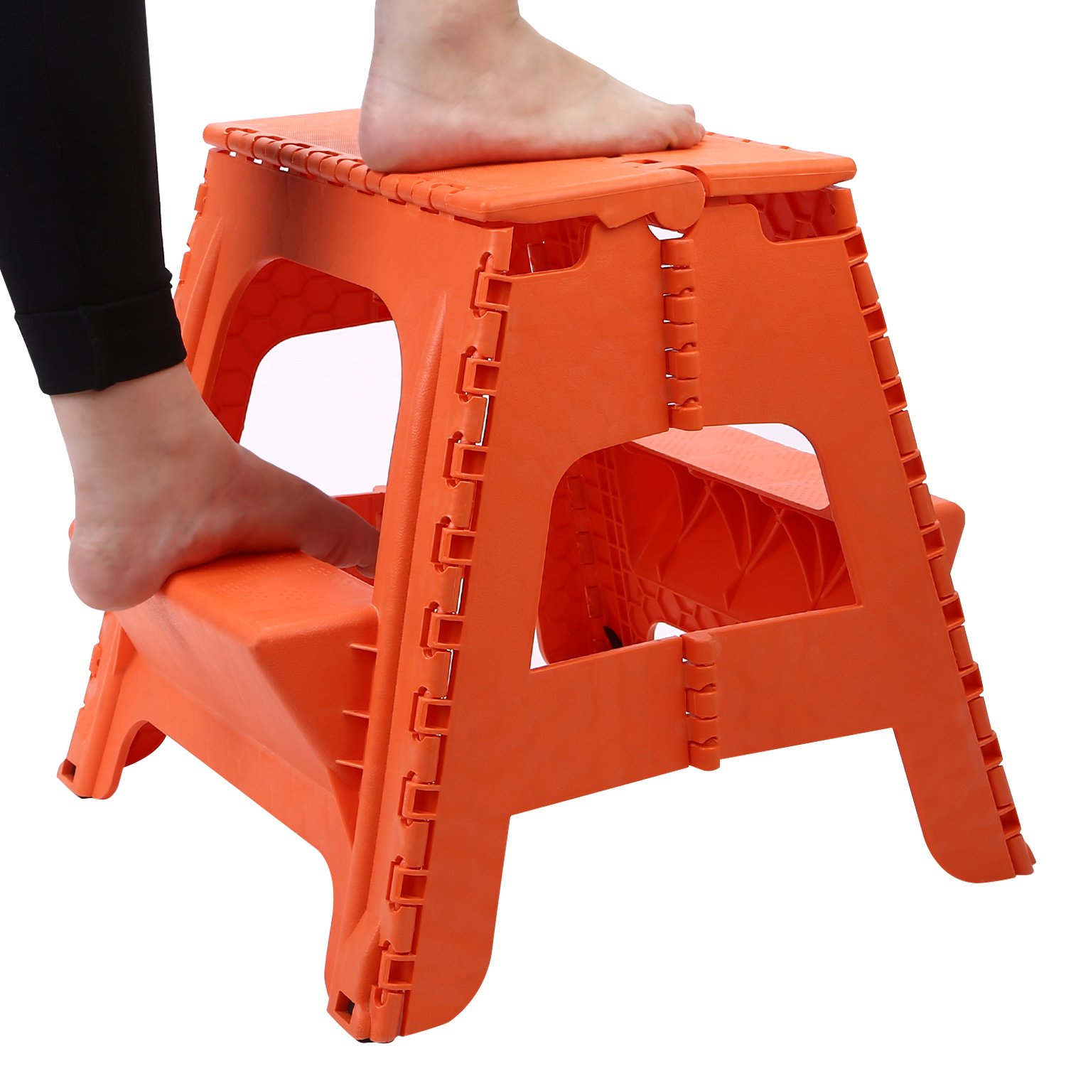 Maddott Two Step Ladder Durable Plastic Folding Stool 15 Inches Holds up to 350 lbs Orange-red Stool