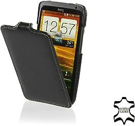 StilGut, Ultra Slim, pochette de cuir exclusive pour HTC One X, rabattable, noir, fait de cuir véritable