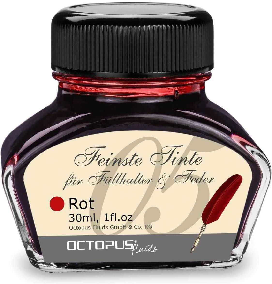 Tinta de pluma estilográfica en tinta de vidrio, Tinta para pluma estilográfica, Tinta estilográfica en Rojo 30ml tintero, Tinta para caligrafía