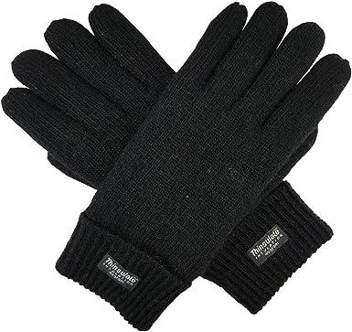 Mens 40 gram Thinsulate lined Winter Ski Full Finger Knitted Gloves