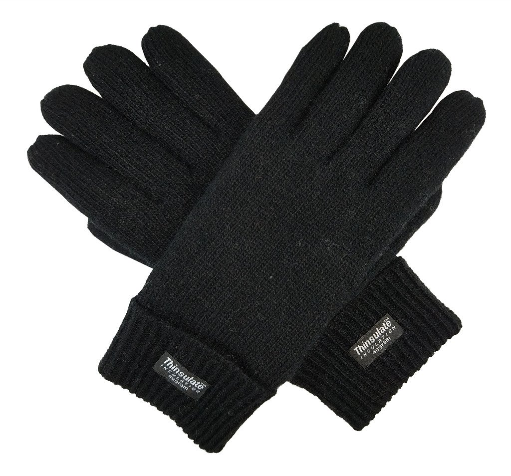 Bruceriver Men's Pure Wool Knitted Gloves with Thinsulate Lining Size L/XL (Black)