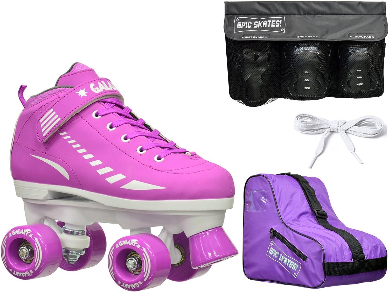 2016 エピックギャラクシーエリート パープルクワッドローラースケート 4個 安全パッドとバッグ付きセット  Juvenile 12 / Small Pads