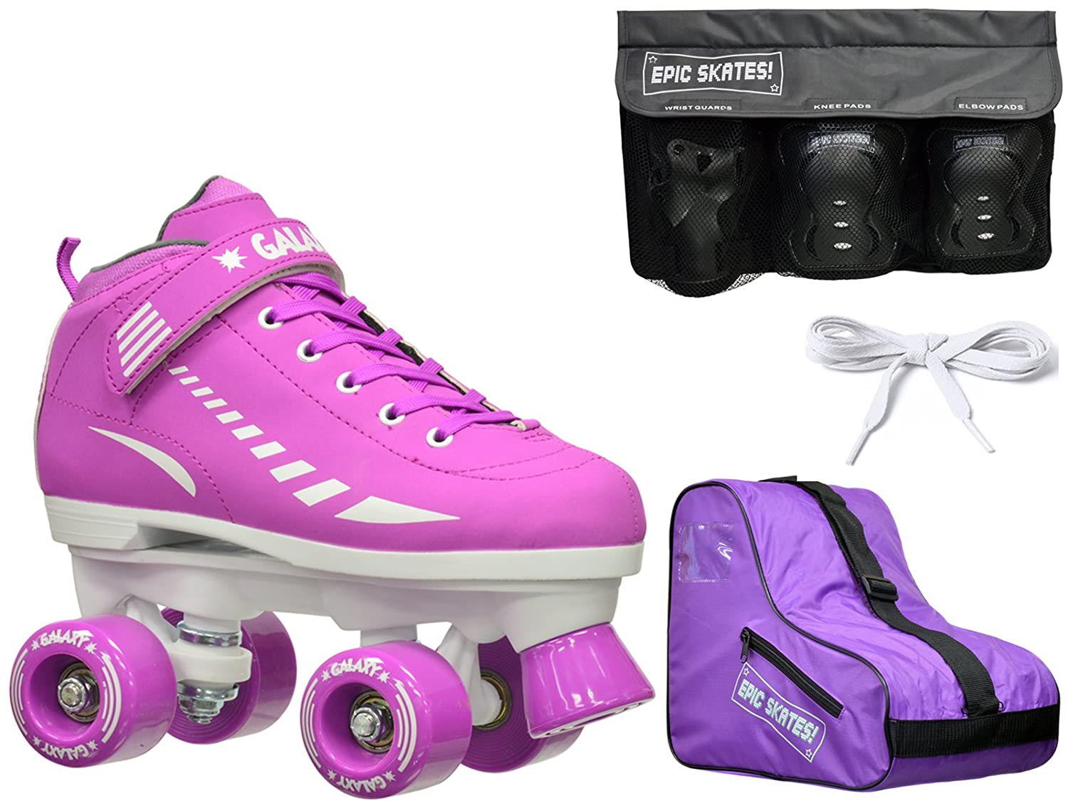 New 2016 Epic Galaxy Elite Purple Quad Roller Skate 4 Pc. Bundle w Safety Pads Bag