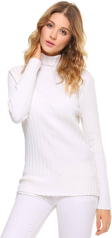 L Bianco Abollria Maglione Donna Elegante a Collo Alto Maniche Lunghe per Inverno Pullover Accollato Dolcevita Maglia a Maglieria Elasticizzata