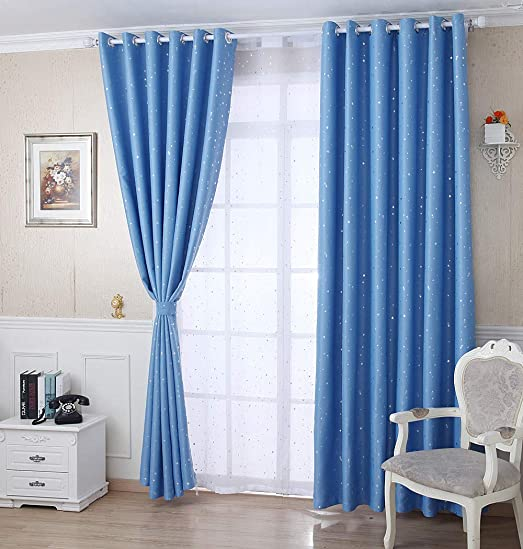 AiFish Kids Room Shiny Star Smei Blackout Curtains Panels 1 Pair Noise Reduing Window Treatment Draperies 2 Panels Set Thermal Insulated Curtain Panel