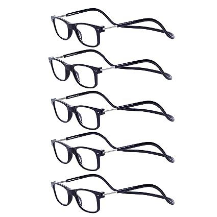 2002a32097 Magnéticas Gafas de lectura Plegables Negro +1.5 QIXU Presbicia Vista para  Hombre y Mujer Montura