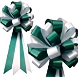 "White and Hunter Green Pull Bows - 8"" Wide, Set of 6, Wedding Pew Ribbons, Christmas Decorations"
