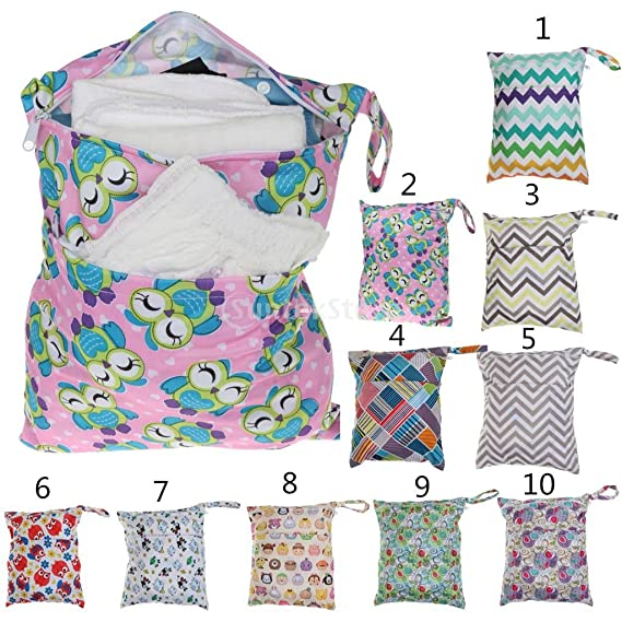 Magideal Waterproof Resusable Wet Dry Baby Diaper Bag Organizer Pouch Dual Zipper (Multicolour)