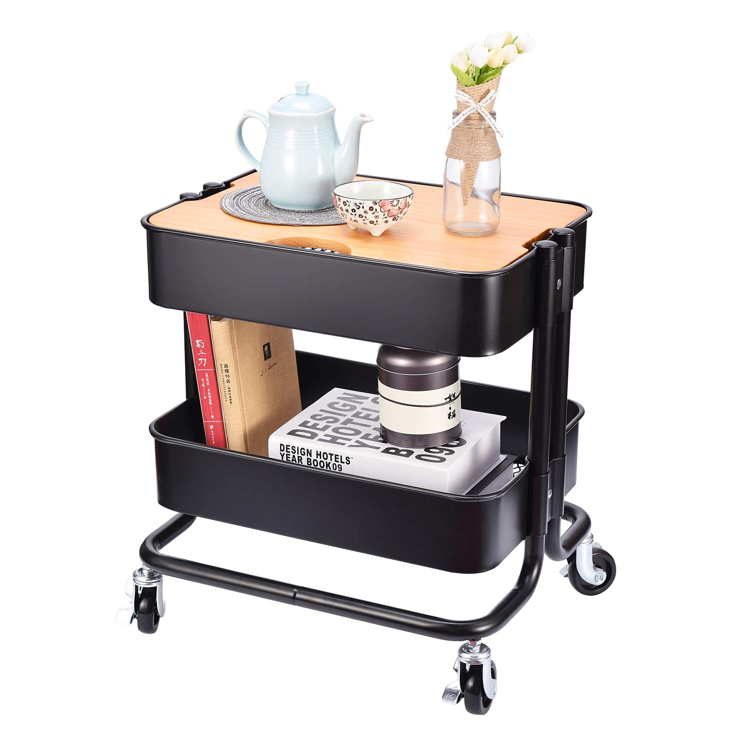 2-Tier Metal Utility Rolling Cart Storage Side End Table with Cover Board for Office Home Kitchen Organization, Black