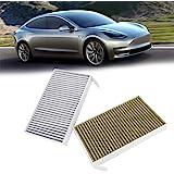 Tama/ño Libre Cicony Repuesto de Filtro de Aire de Cabina para Tesla Model 3 2017 2018 2019 Activado Filtro de Aire Acondicionado de Carbono Verde