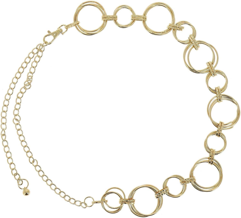 Fashiongen ajustabler ANNA metal Cintur/ón de cadenas para mujer