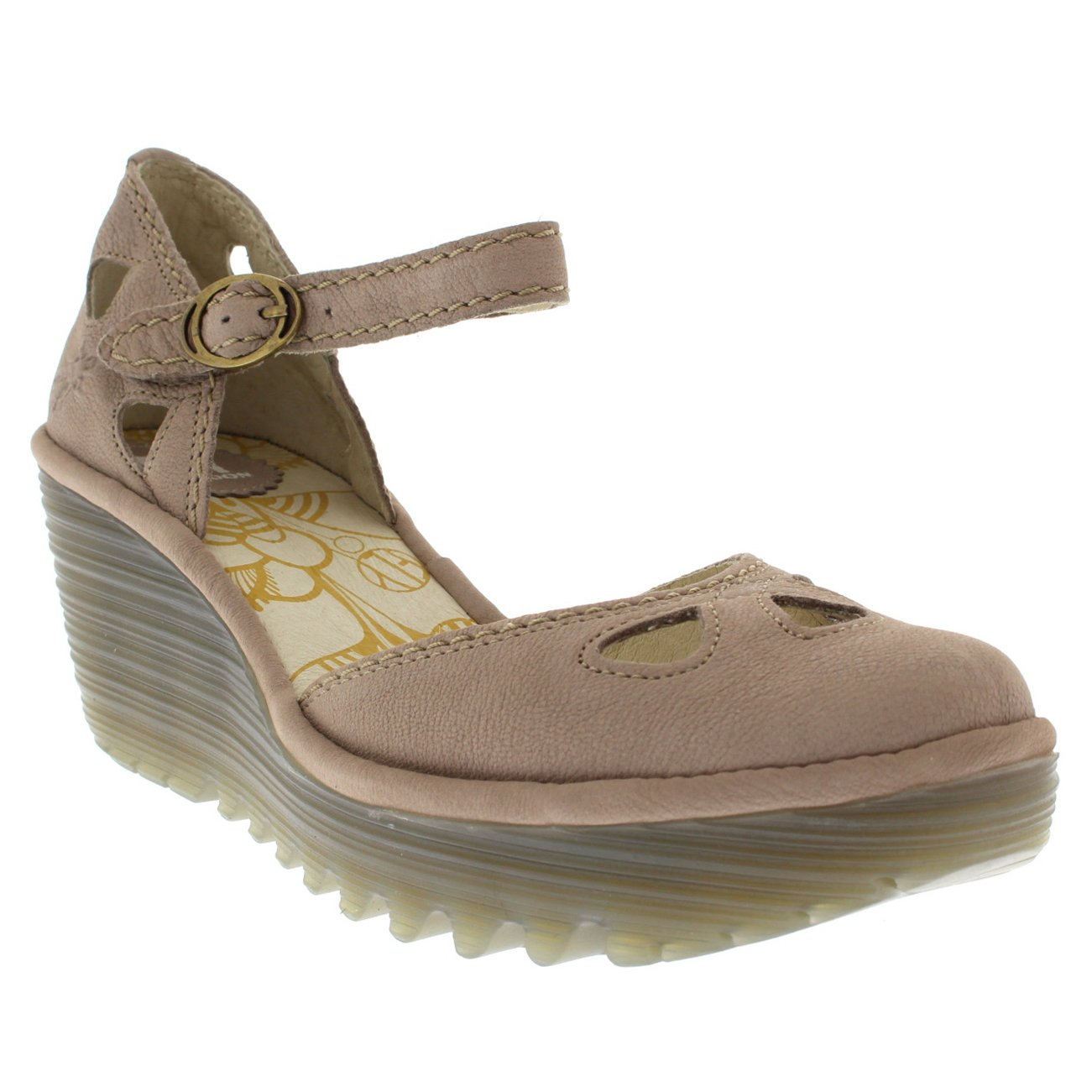 FLY London Womens Yuna Cupido Leather Sandals Summer Shoes Wedge Heel - Concrete - 6 by FLY London (Image #3)