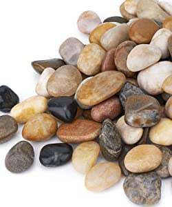 GASPRO 15LB Gravel River Rock, Natural Decorative Polished Mixed Pebbles for Plants, Landscaping, Vase Fillers and More