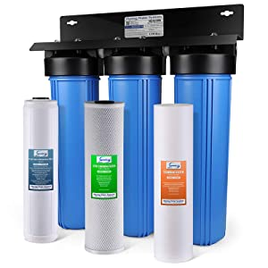 iSpring WGB32B-PB 3-Stage Whole House Water Filtration System w/ 20-Inch Big Blue Sediment, Carbon Block, and Iron & Lead Reducing Filter …