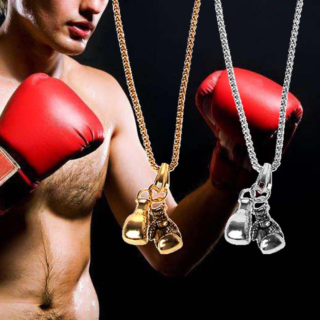 Lunji Gants masculins de punk en acier inoxydable Tyson de boxe cha/îne pendentif collier Fitness