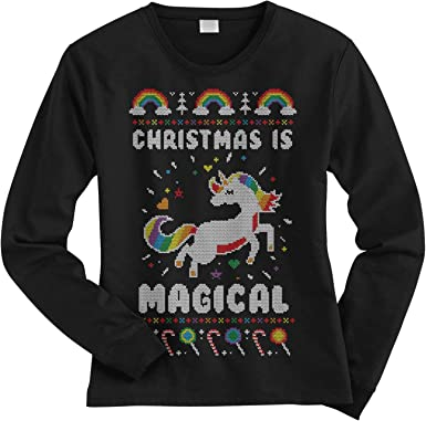 Retro 90s Rainbow Unicorn Magical Ugly Christmas Sweater Toddler Hoodie