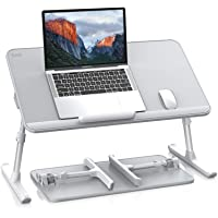 SAIJI Leather Laptop Bed Tray Table, Adjustable Laptop Stand with Removable Stopper, Portable Lap Desks with Foldable…