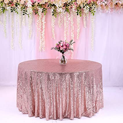 2483c058be0c TRLYC 120 quot  Round Rose Gold Wedding Sequin Linens Glitter Table Cloth  Party Sparkly Fabric