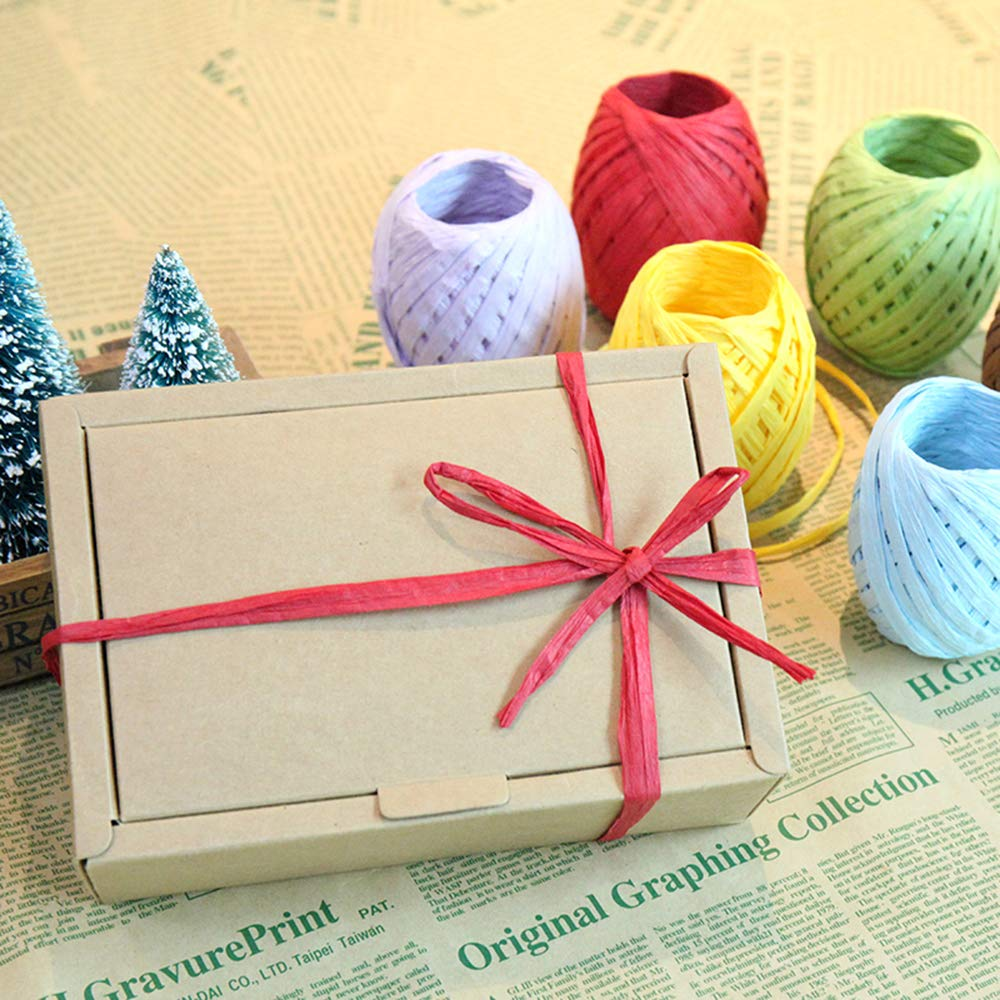 6 Rolls 6 Colors Raffia Twine Paper Ribbon for Valentines Day Gift Box Packing