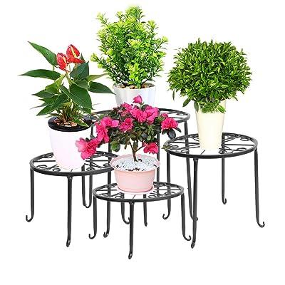 DAZONE Metal Plant Stand Indoor Modern Wrought Iron Planter Stands Outdoor Patio Gardern Flower Pot Round Display Holder Rack (Black) : Garden & Outdoor