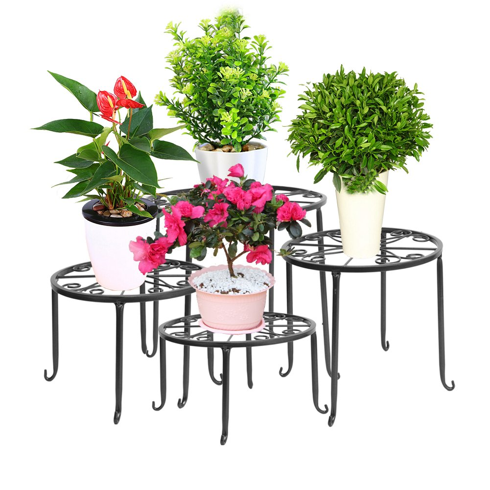 Dazone Metal 4 in 1 Potted Plant Stand Floor Flower Pot Rack (Black) by DAZONE