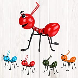 Syhood 4 Pieces Ant Garden Decor Set Metal Ant Yard Wall Decor Fence Hanging Decoration Cute 3D Wall Art Colorful for Indoor Bathroom Kid's Room Outdoor, Tree, Porch, Patio, Wall Sculpture