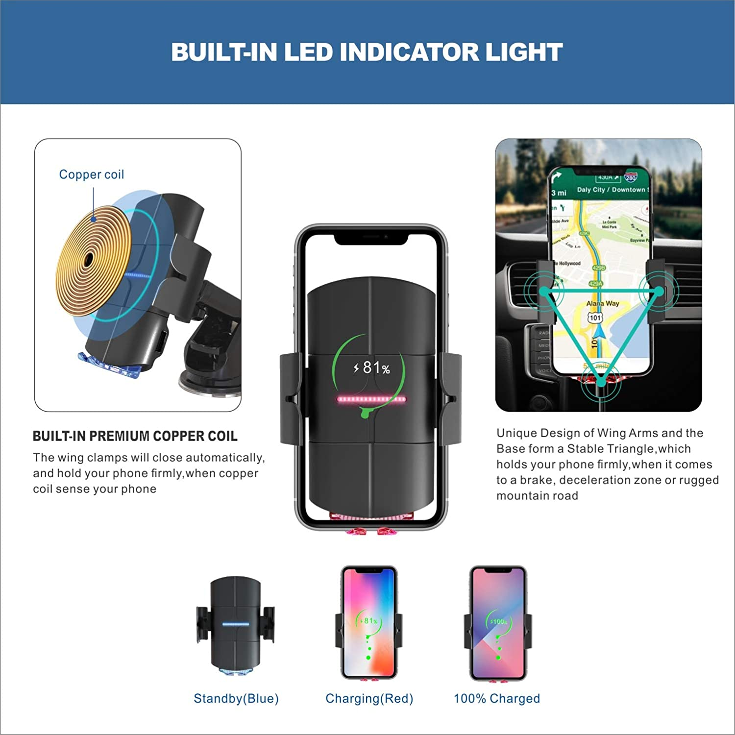 TILON Voice Prompts Wireless Car Charger 10W Qi Fasting Charging Auto-Clamping 3 in 1 Car Mount Windshield Dashboard Air Vent Phone Holder for iPhone 11-Pro Max X-Xs Max 8//8+ Samsung S10-S8