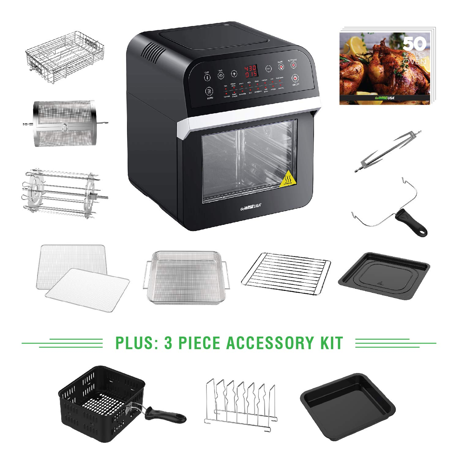 GoWISE USA 12.7-Quart 15-in-1 Electric Air Fryer Oven w/Rotisserie and Dehydrator, 1600W with 10 Accessories and 3-Piece Air Fryer Oven Accessory Set + 50 Recipes for Your Air Fryer Oven Cookbook (Black) by GoWISE USA