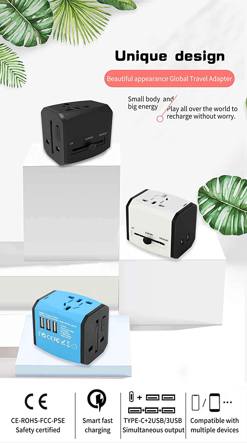1 AC Plug Suit for US EU UK AUS,Over 150 Countries Travel Accessories 525, White AIAI International Travel Adapter 2500w,Worldwide All in One Universal Travel Adapter with 3 USB Ports
