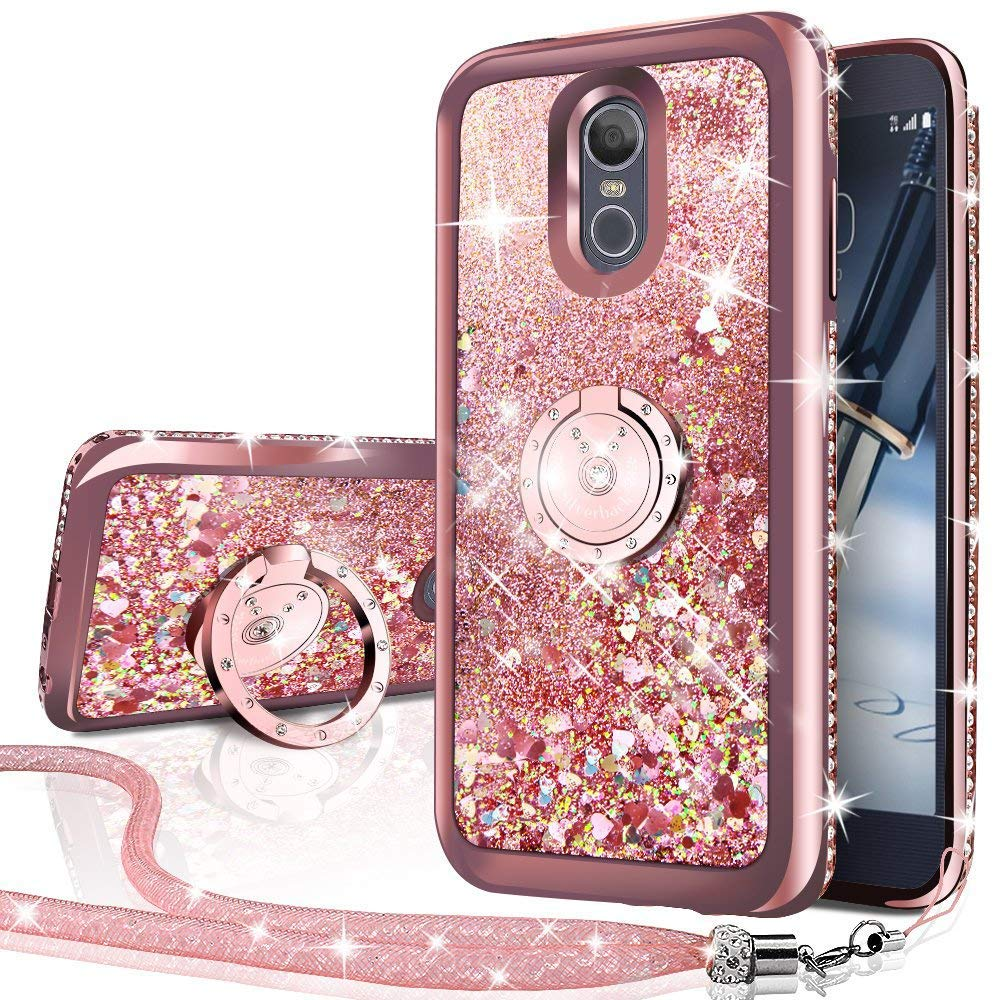 LG Stylo 4 Case,LG Stylo 4 Plus Case,LG Q Stylus 4, Silverback Moving Liquid Holographic Sparkle Glitter Case with Kickstand, Bling Diamond Rhinestone Bumper with Ring Slim Protective LG Stylo 4 -RD