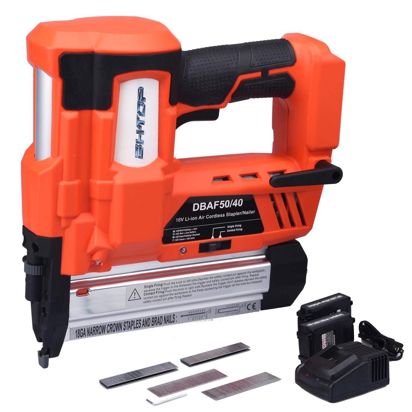 BHTOP Cordless Nailer & Stapler- 2 in 1 18Ga Heavy Tool With 18Volt 2Ah Lithium-ion Rechargeable Battery(Charger and Carrying Case) (1 Battery)