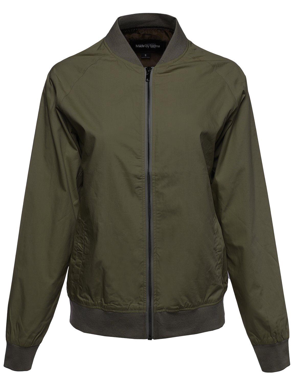 Made by Emma Classic Basic Style Zip Up Bomber Jacket Olive M Size