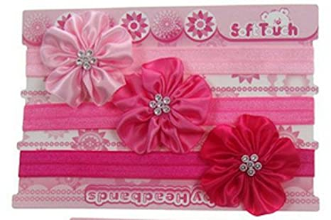 Cute 3 Pack encaje bebé diadema con diamante satén flores ...