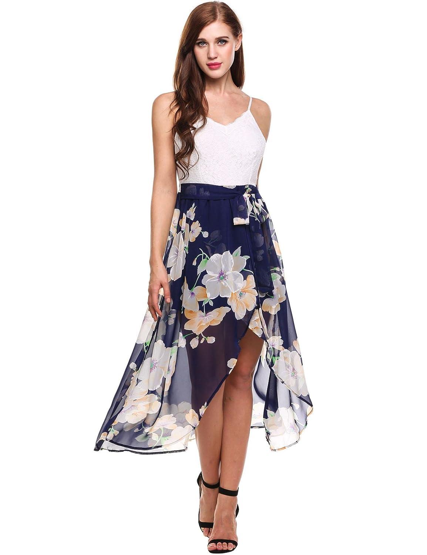 cooshional Damen Sommerkleid Blumenkleid mit Spitze V-Ausschnitt ärmellos Spaghetti Riemen Maxinkleid